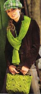 Зеленые шарф и сумка с косами