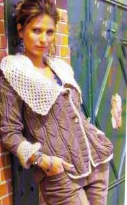 Жакет с воротником и манжетами в сетку