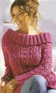 Вязаный пуловер с воротником «кармен»