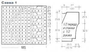 Схема узора 1 и выкройка