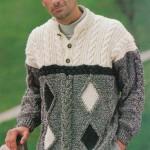 Вязаный пуловер с цветными ромбами