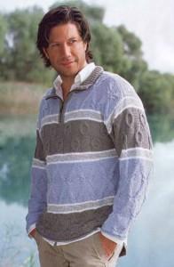 Мужской вязаный полосатый пуловер из рельефных узоров