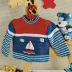 Вязаный крючком пуловер для будущего моряка