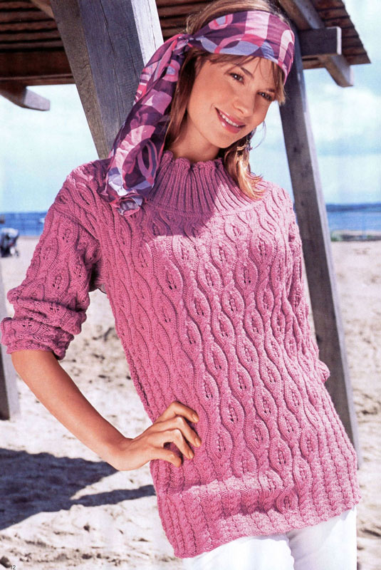 Длинный вязаный узорчатый пуловер