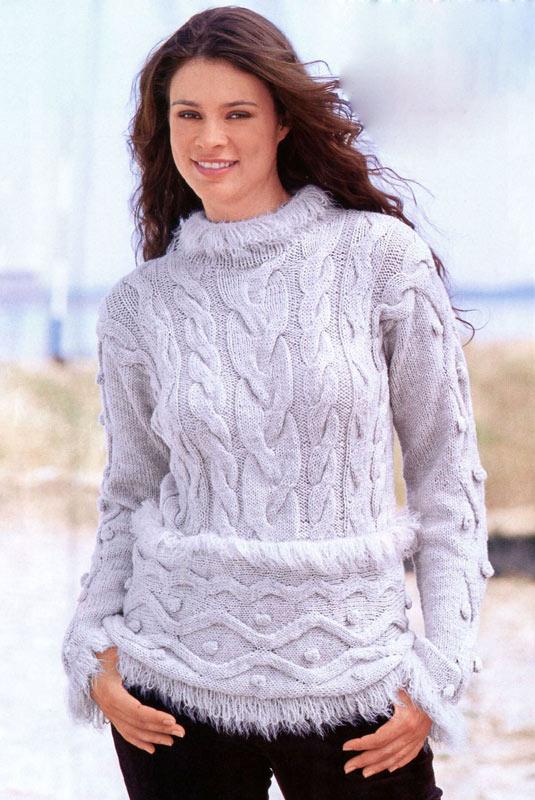 серый вязаный пуловер с меховой отделкой вязание спицами и