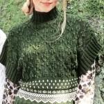 Зелёный вязаный пуловер с жаккардовым узором