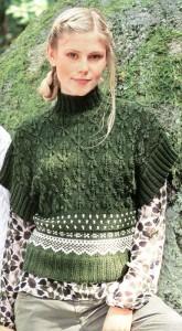 Зеленый пуловер с жаккардовым узором