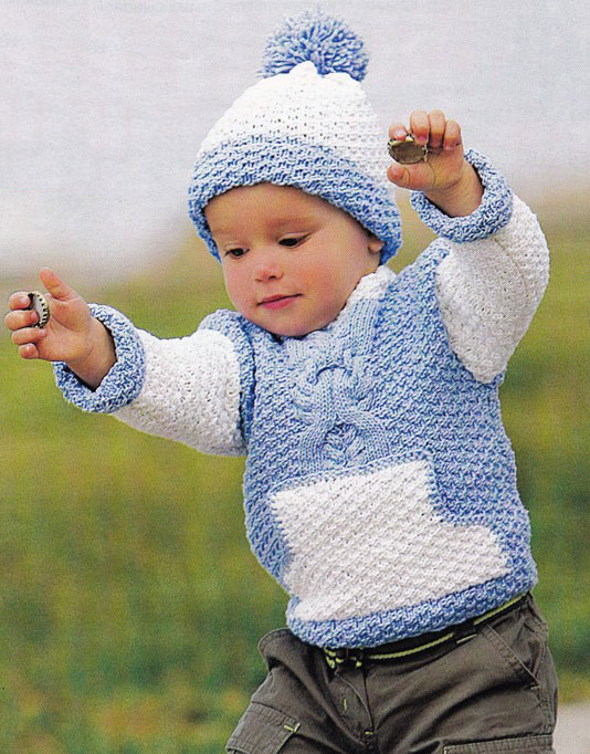 вязаный джемпер с карманом и шапочка вязание спицами и крючком
