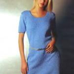 Великолепное вязаное голубое платье