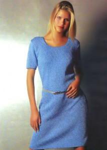 Великолепное вязаное голубое платье, магия синего