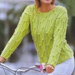 Вязаный пуловер фисташкового цвета
