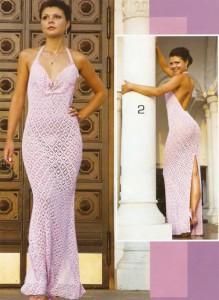 Вязаное крючком платье с ромбовидным рисунком