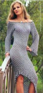 ригинальное вязаное вечернее платье