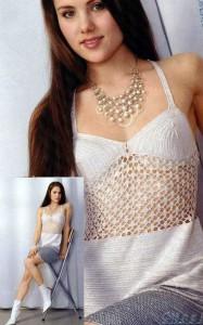 Вязаное элегантное платье крючком