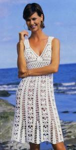 Сказочно красивое белое кружевное вязаное платье с