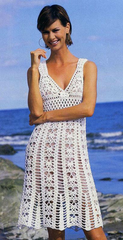 Сказочно красивое белое кружевное вязаное платье
