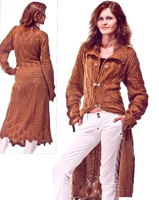 Пальто вязаное крючком ля полных женщин