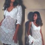 Белоснежное вязаное крючком платье и болеро
