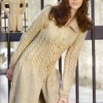 Вязаное пальто из кос