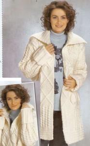 Белое пальто из разных узоров