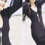 Черненькое платье-труба с плетеным узором