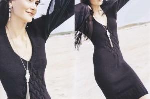 Черненькое платье-труба с плетеным узором | Вязание спицами и крючком – Азбука вязания