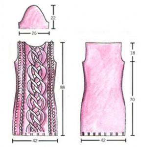 Схема красного вязаного платья с косами