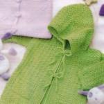 Зеленый детский жакет крючком