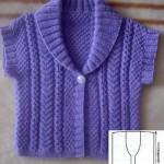 Детский фиолетовый жилет с короткими рукавами