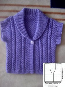 Детский фиолетовый вязаный детский жакет