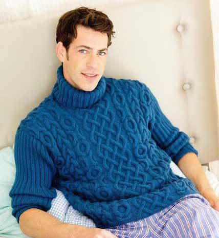 мужской свитер с рельефным узором вязание спицами и крючком