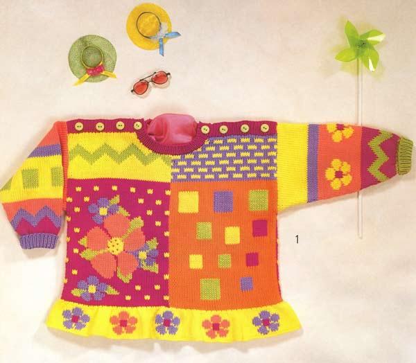 разноцветная кофточка с цветами для детей вязание спицами и