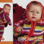 Вязаный костюм - кофта и штаны для новорожденного