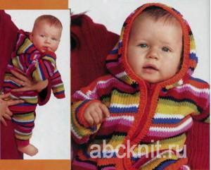Вязаный костюм - кофта и брюки для новорожденного