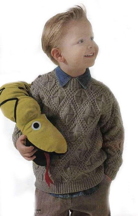 красивый вязаный пуловер для мальчика вязание спицами и крючком