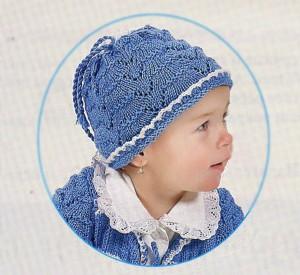 Синяя вязаная шапочка
