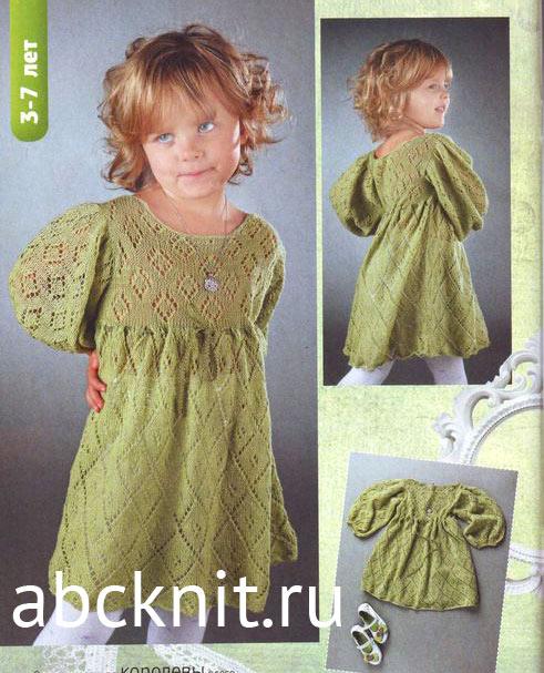 Вязаное ажурное фисташкового цвета платье для девочки