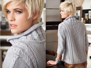 Женский вязаный пуловер с косами
