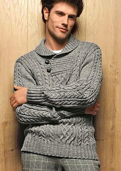 ae33e0022f1 Вязаный пуловер с воротником на пуговицах