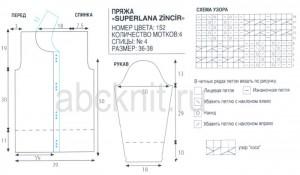 Схема и выкройка вязания кофты спицами