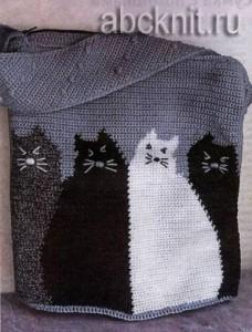 Вязаная крючком сумка с котами