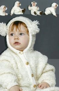 Белый комбинезон для малыша с капюшоном