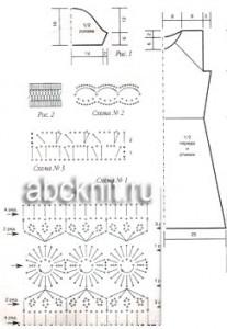 Схемы к вязаному крючком платью оливкового цвета