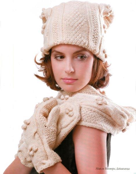 Вязаные шапочка, шарф и