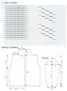 Схема и выкройка вязаного мужского свитра