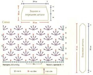 Схема и выкройка вязаной сумки крючком