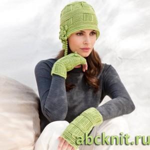 Нежные зеленые шапка и митенки