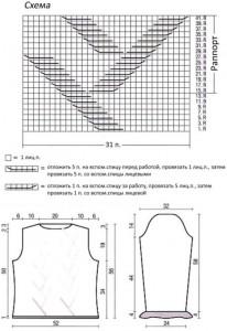 Схема и выкройка вязаной кофты