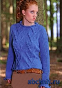 Синяя вязаная женская кофта спицами