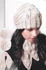Женская вязаная шапка и шарф